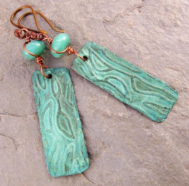 handmade earrings of brass and amazonite