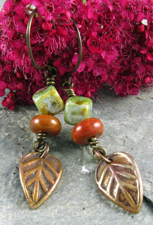 Handmade earrings of copper, jasper and glass