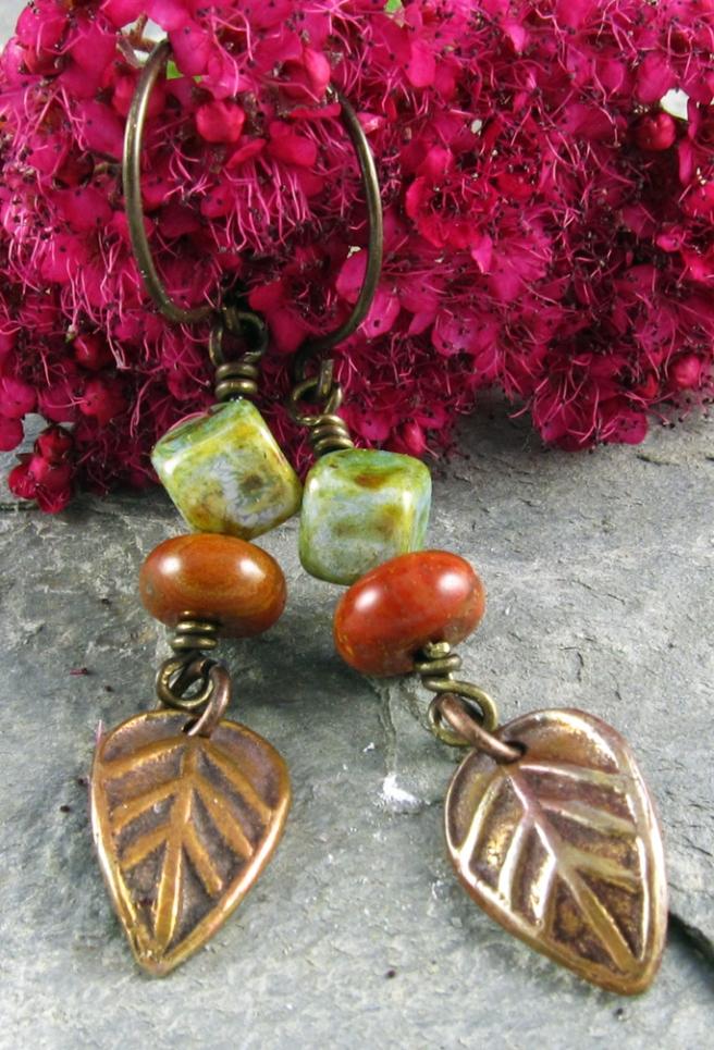 Handmade earrings of copper, jasper and glass
