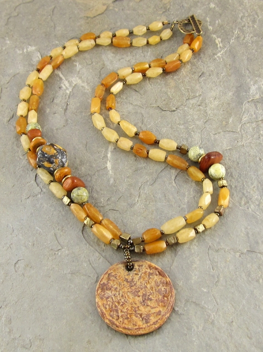 Ceramic and carnelian necklace
