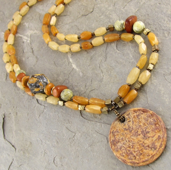 handmade ceramic, brass and carnelian necklace