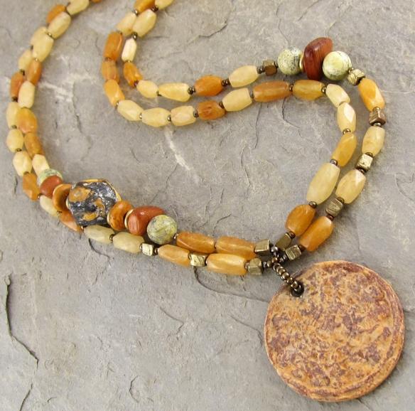 handmade ceramic, brass and carnelian necklace