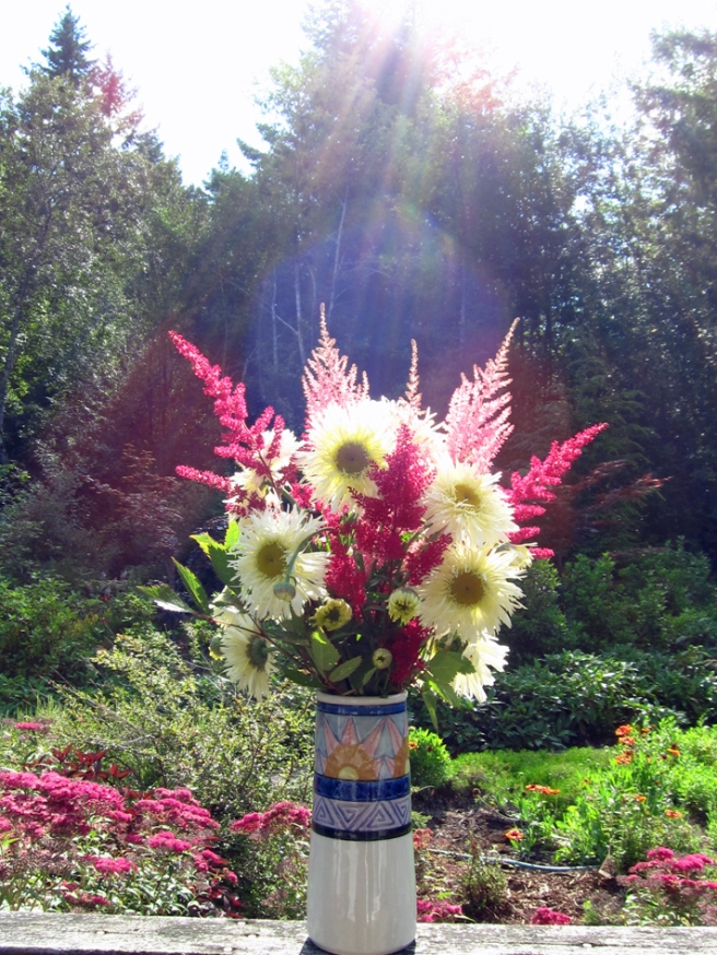 Tall vase of Shasta daisies and false spireas
