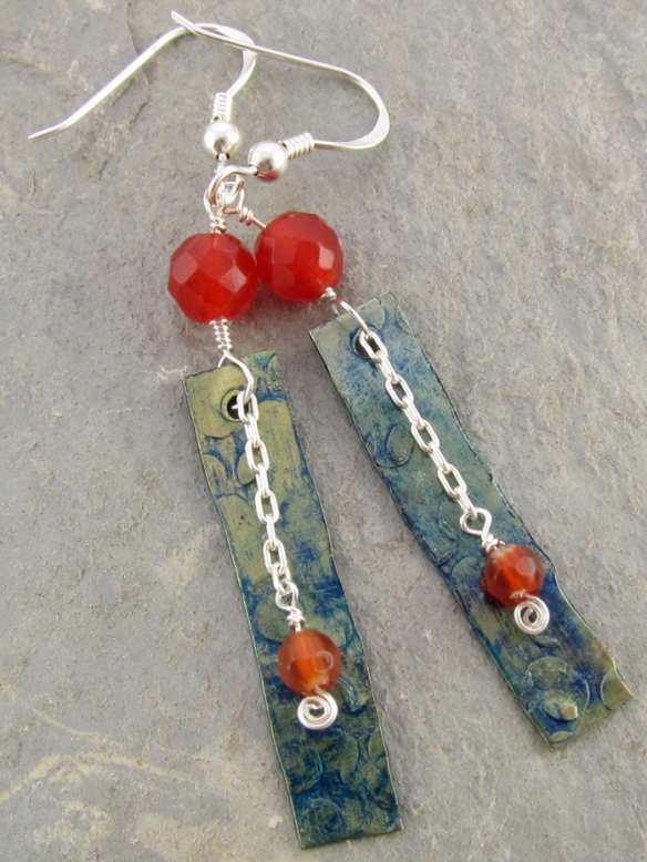 handmade carnelian, brass and sterling silver earrings