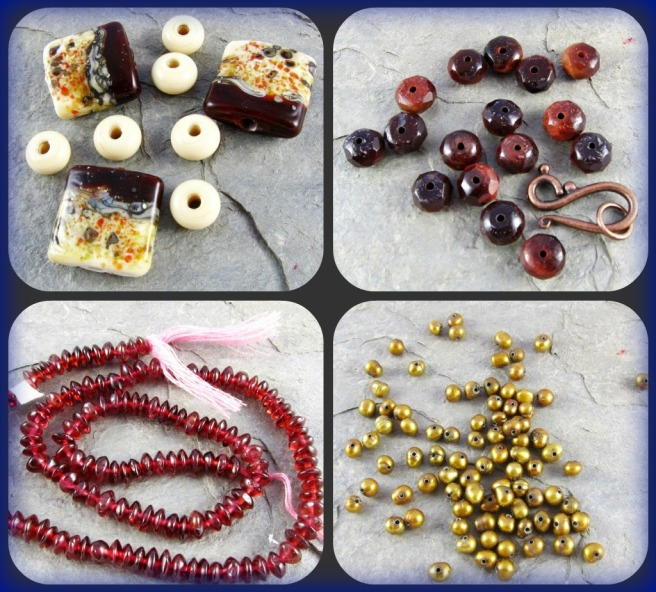 lampwork, tiger eye, garnet and pearl beads