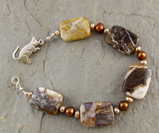 Handmade pearl, brown agate, and sterling silver bracelet