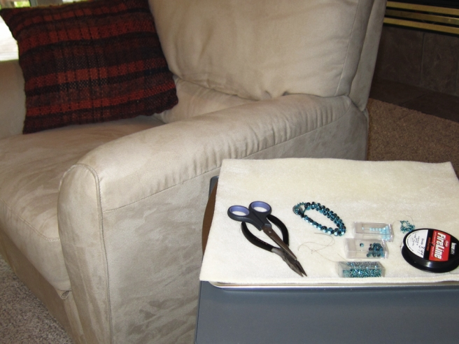 Lap desk with beadweaving supplies