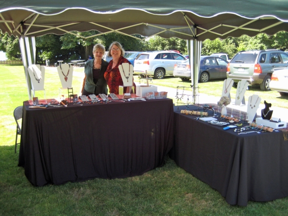 My jewelry booth at a fundraiser for the homeless