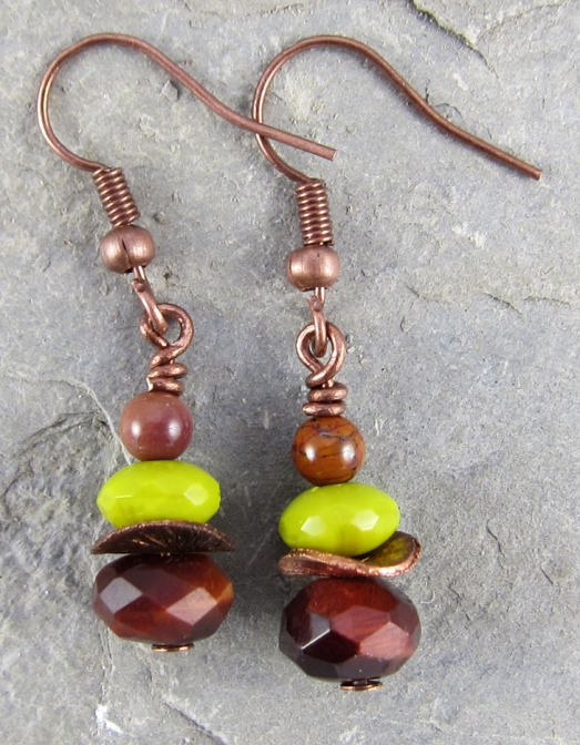 Tiger-eye, glass copper and mookite earrings.