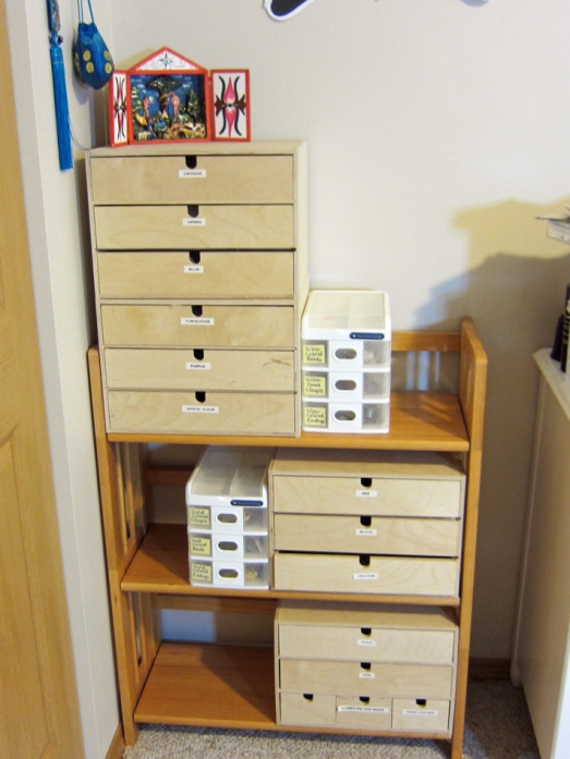 IKEA drawers in craft room