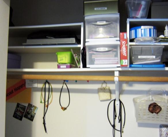 using shoe shelves to organize craft supplies