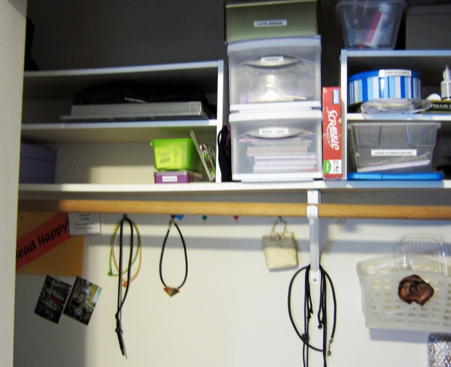 using shoe shelves to organize craft supplies