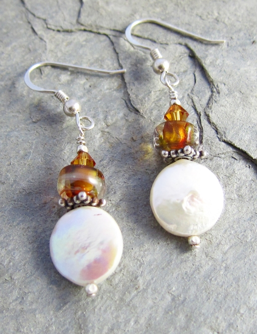 Coin pearl earrings with lampwork glass
