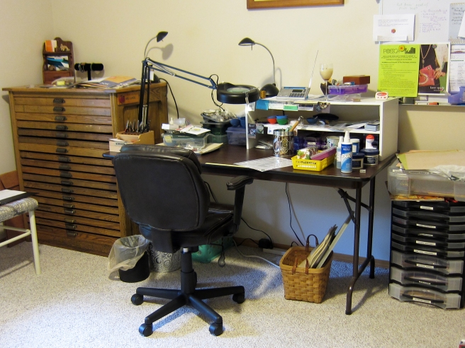 My bead table and Hamilton printers cabinet.