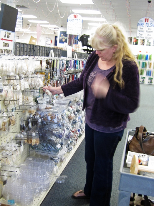 Kristi Bowman shopping at Shipwreck Beads