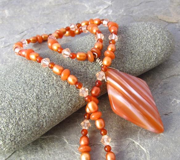 handmade necklace with striped sardonyx pendant