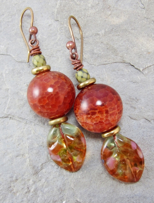fire agate and lampwork earrings