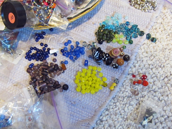 beads sorted by color
