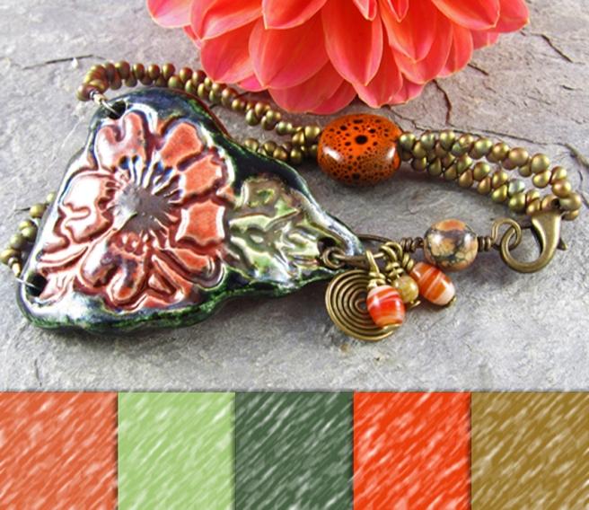 Floral ceramic cuff bracelet.