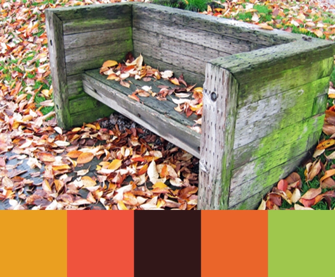 wooden park bench with leaves scattered around it.