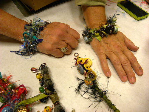 enameled beads and silk bracelets