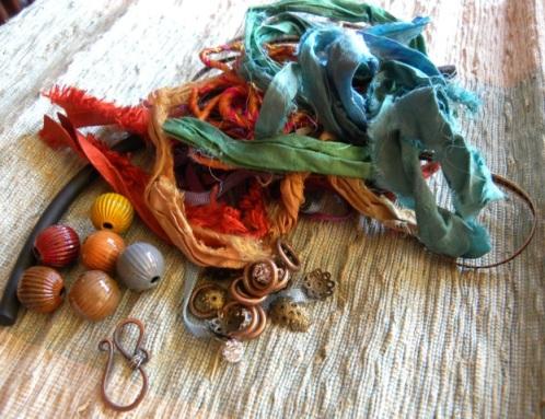 enameled beads and silk bracelet