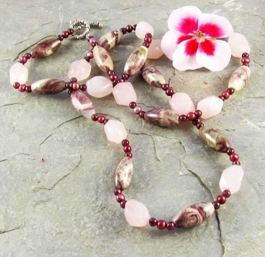 rose quartz and jasper necklace