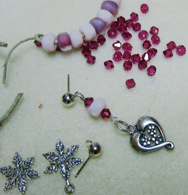Handmade Heart and lampwork earring