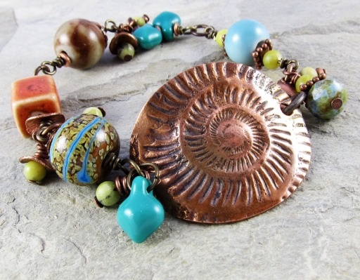 copper wired bead bracelet
