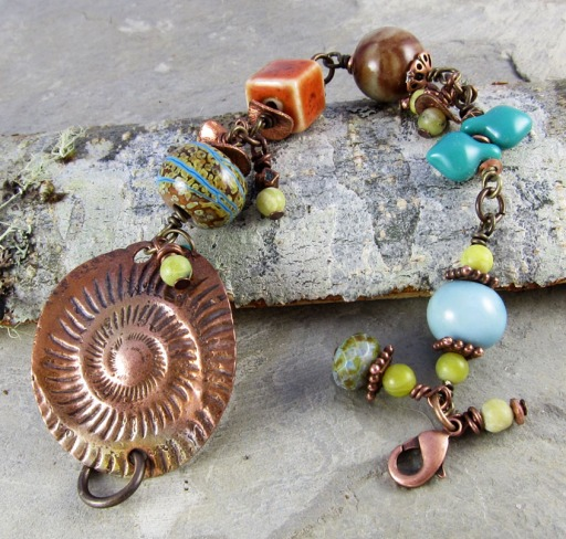 copper and ceramic bracelet, handmade by Linda Landig Jewelry