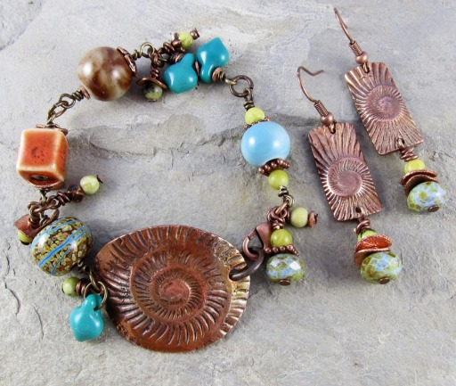 bracelet and earrings with handmade copper components