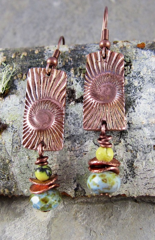 handmade copper earrings with serpentine and glass dangles