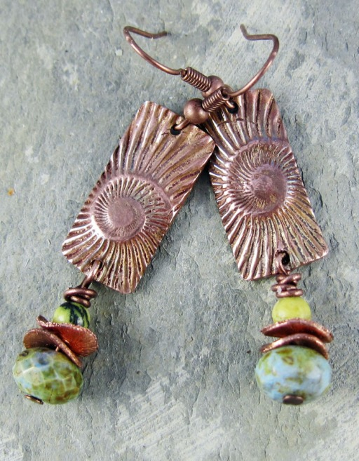 copper earrings with serpentine and copper dangles