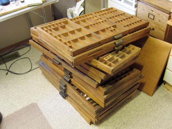 drawers from my antique Hamilton printers cabinet