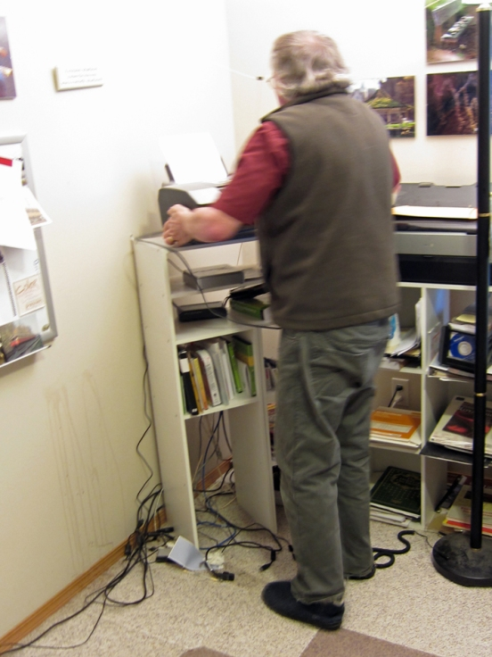 Moving the printer out of the new bead room