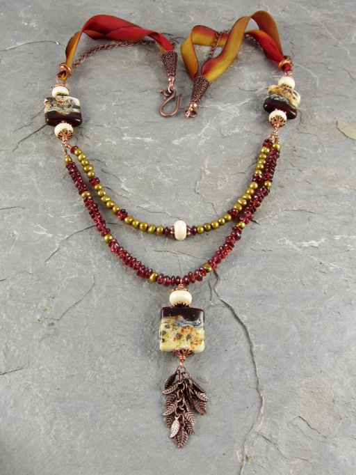 Lampwork and garnet necklace
