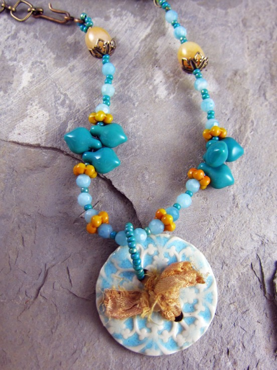 Handmade  Necklace of ceramic, amazonite, gold agate, vintage glass, glass and brass.