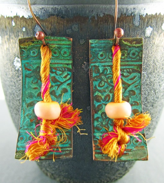 patina'ed copper, lampwork and sari silk earrings