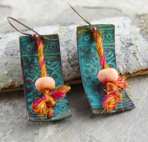 copper, sari silk and lampwork earrings