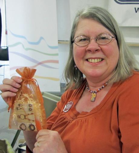 Linda Landig with Bead Swap package.