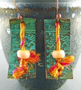 copper, lampwork and sari silk earrings