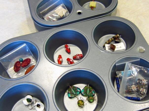 muffin tin bead organizer