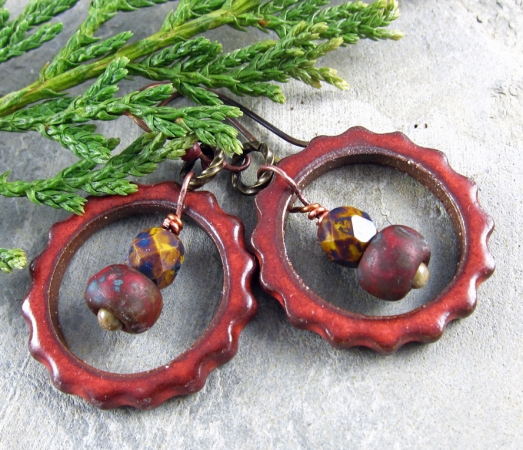 brick red steampunk hoop earrings