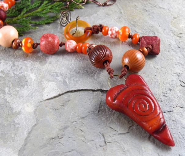 handmade orange necklace