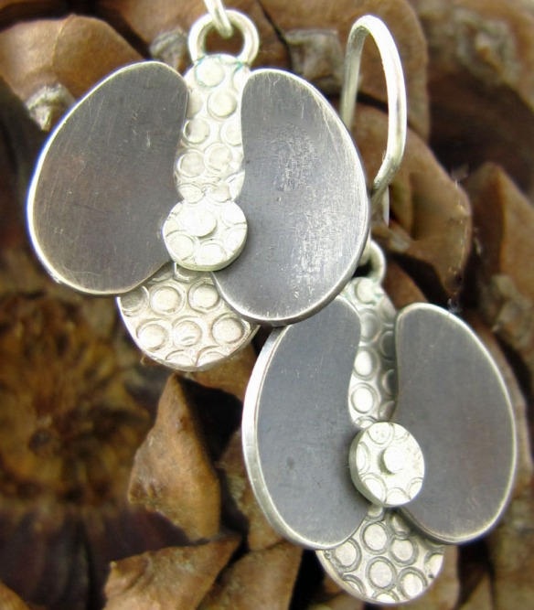 handmade sterling silver orchid earrings