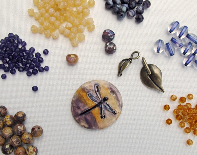 dragonfly ceramic pendant, leaf clasp and beads