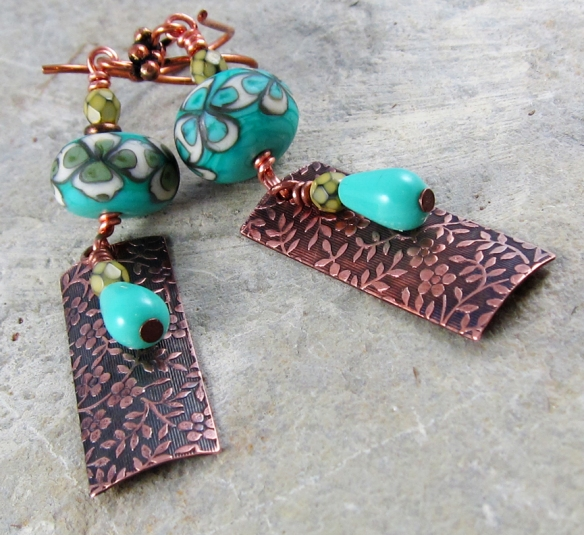 copper and lampwork glass earrings