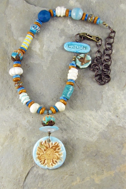 beads of clay necklace by linda landig jewelry