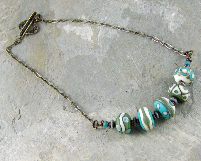 lampwork glass and chain necklace