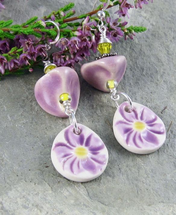 handmade lilac flower earrings
